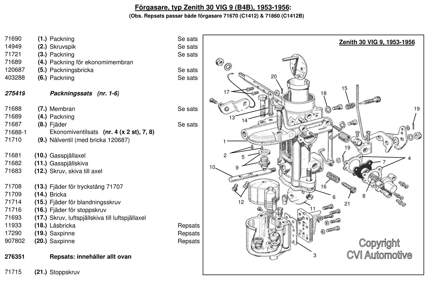 Sprängskiss - Zenith 30 VIG